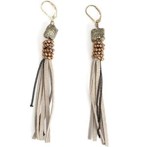 Hart and Fox Boutique Jewelry - Hematite Nugget Leather Fringe Earrings